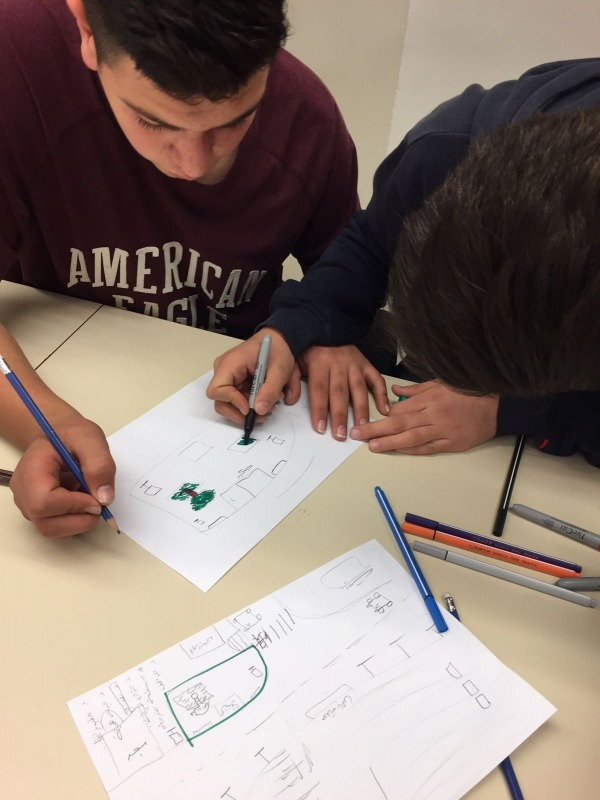 High school students working on plans